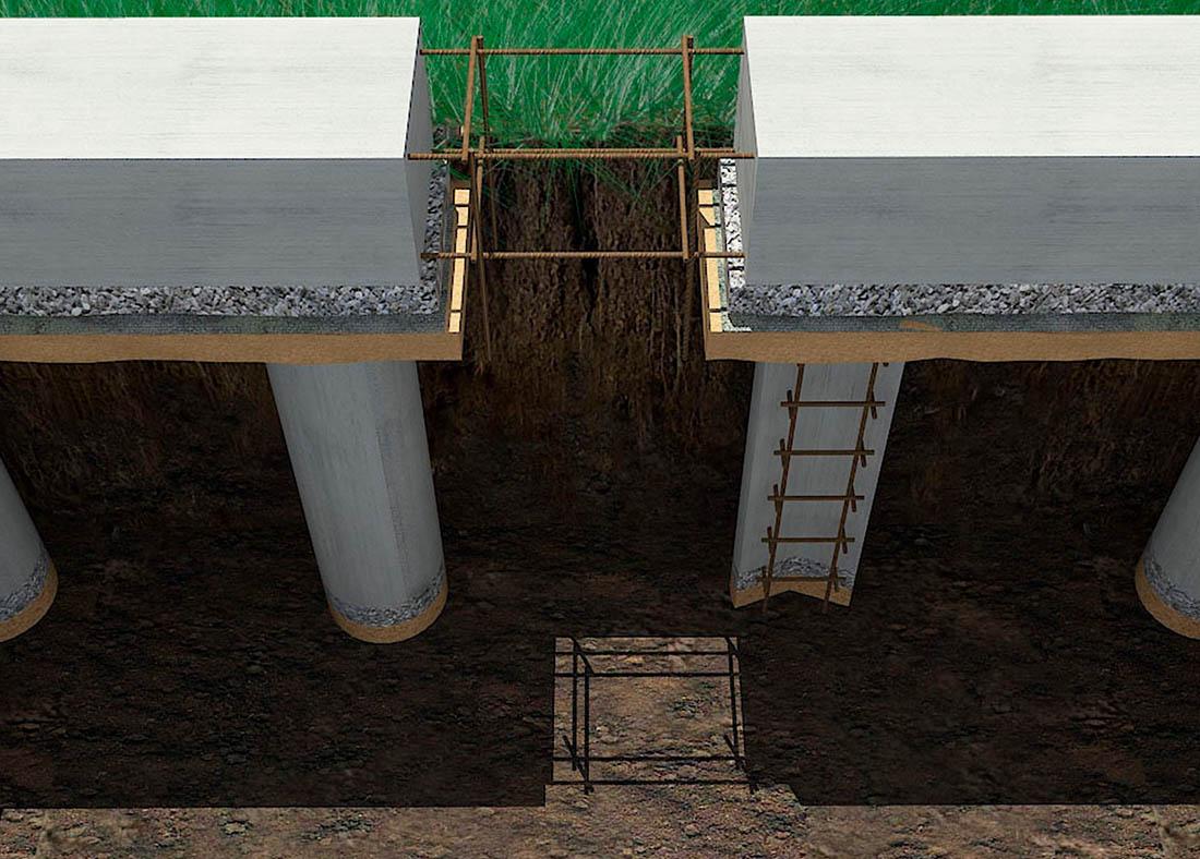 Схема строения ростверкового фундамента
